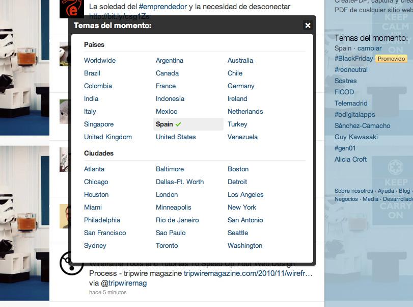 Los nuevos países en Trending topic de Twitter